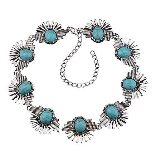 YAZILIND Retro Turquesa Piedra Preciosa Collar Corto Accesorios de aleación Femenina Personalidad cumpleaños joyería