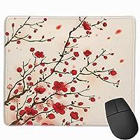 マウスパッド オフィス最適 梅の花 赤い梅 冬 和風 ゲーミング 防水性 耐久性 滑り止め 多機能 標準サイズ25cm×30cm