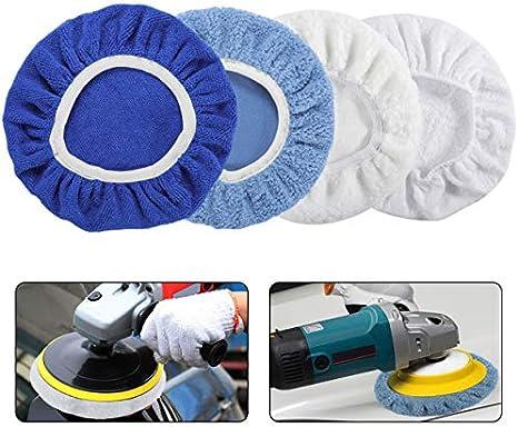 Pack of 8 Pcs Woollen+Cotton+Microfiber+Coral Fleece AUTDER 5 Inch /& 6 Inch Car Polisher Pad Bonnet 2 Pcs for Each Waxers Bonnet Set