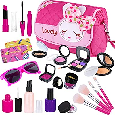 GINMIC Kids Makeup Kit - Pretend Play Makeup Set Toys with Pink Princess Purse & Sunglasses for Girls 3-10 Year Old - Including Brushes, Eye Shadows, Lipstick, Liquid Foundation, Nail Polish and More