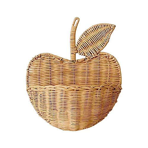 Tuker - Cesta de mimbre para colgar ropa para decoración del hogar, diseño de flores de mimbre, tejido a mano con forma de manzana, organizador de almacenamiento de ratán ecológico, ratán