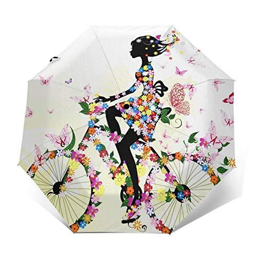 Paraguas Plegable Automático Impermeable Gente Chica Bicicleta Romántico, Paraguas De Viaje Compacto...