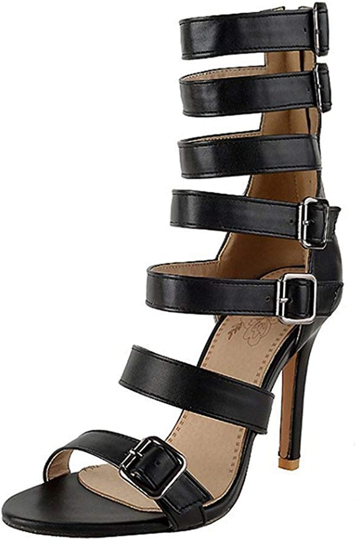 Unm Women's Strappy Buckle Open Toe Zip Up Stiletto High Heels Stylish Gladiator Boots Sandals