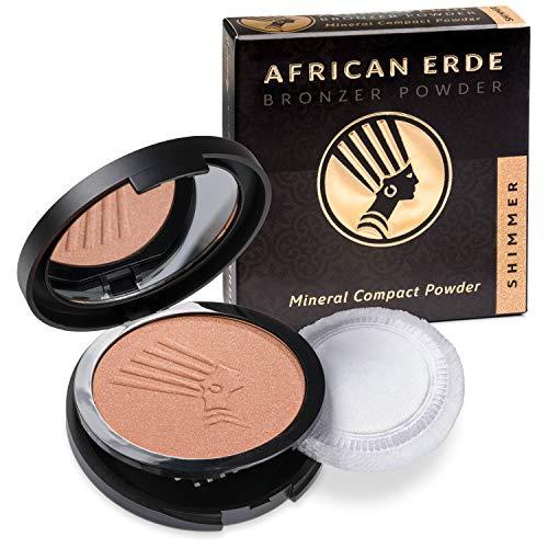 African Erde Bronzer Powder SHIMMER, mit feinem Glitter, Mineral Puder, 10g