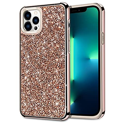 HoneyAKE Compatible with iPhone 13 Pro Max Case Glitter Rhinestone Bling Diamond Case for Girls Women Shockproof Handmade Dual Layer...