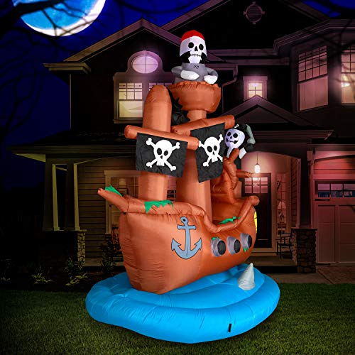 Holidayana Pirate Ship Halloween Inflatable - 10 ft Tall Pirate Ship Yard Inflatable Decoration with LED Bulbs, Fan, and Stakes