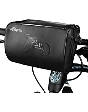 WOTOW Bike Handlebar Bag, Waterproof Bicycle Handlebar Front Frame Storage Basket with Reflective Patterns and Transparent Water Resistant Touch Screen Phone Holder for Road MTB Cycling Outdoor, 3L
