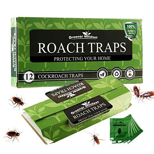Greener Mindset 12 Pack Cockroach Traps - Pet Safe Roach Traps - Eco Friendly Glue Traps - Large Sticky Traps - Roach Killer - Roaches Spiders Ant Trap - Roach Bait Traps