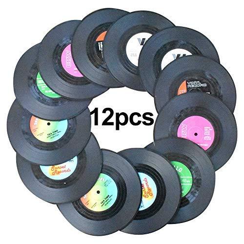 Awtlife12 posavasos de vinilo con diseño retro de discos de CD para bebidas, para suministros de...