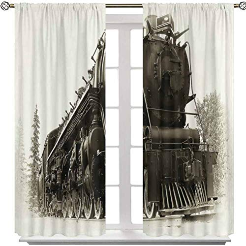 Aishare Store Rod Pocket Curtain Panel, Antique Northern Express Train Canada Railways Photo Freight Machine Print, 48 Inches Long Rod Pocket Blackout Curtains for Kids Bedroom(2 Panels)