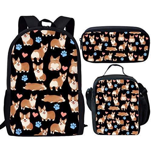 Nopersonality Cute Kids Backpack Girls Elementary School Bags Bookbag + Insulated Lunch Bag Small + Teenager School Pencil Case Corgi Schoolbag Set