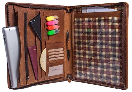 Hill Burry Carpeta de Documentos de Cuero A4 | Carpeta de Conferencias de Cuero Genuino con aspecto Vintage - Portadocumentos - Organizador de Viaje | XXL Grande Capacidad - Carteras de viaje (marrón)