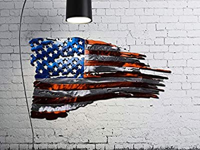 Brilliant Tattered American Flag Metal Wall Art Made IN USA