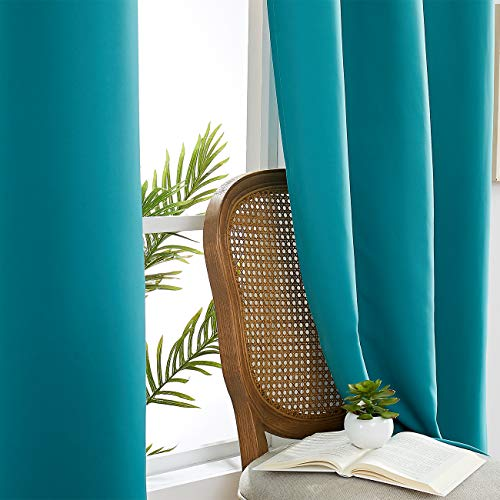 JUNFR Blackout Curtains 2 Panels Set – Indoor/Outdoor Thermal Insulated Solid Grommet Room Darkening Drapery for Living Room Small Window (Teal Blue, 52Wx63L)