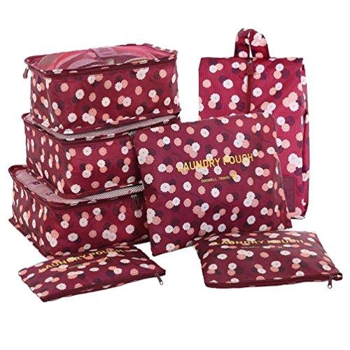 iLAZ 7 Set Sistema di Cubo di Viaggio - 3 Cubi di Imballaggio + 3 Sacchetti + 1 Borsa Scarpe Premium - Perfetto di Viaggio Dei Bagagli Organizzatore - Fiore di Vino