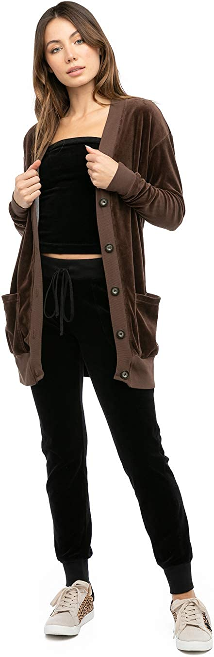 Hard Tail Women's Oversized Velour Cardigan Style V183