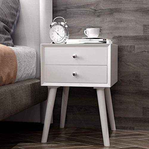 COSTWAY Bedside Table, Solid Wood Legs Night Stand Cabinet Unit with 2 Storage Drawers, Home Office Bedroom Living Room Retro Sofa Side End Table (White)