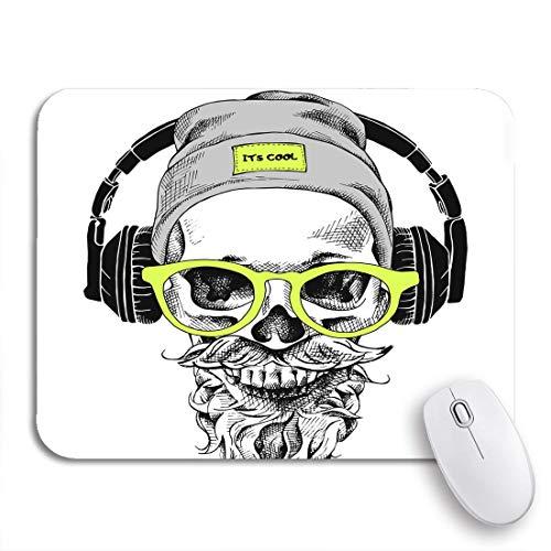 Adowyee Gaming Mauspad Schädel Bart Schnurrbart im Hipster Hut und Kopfhörer rutschfeste Gummi Backing Computer Mousepad für Notebooks Mausmatten