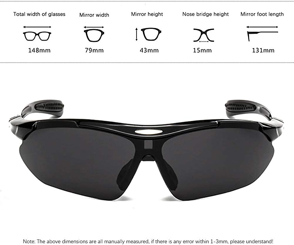 Arteesol Mens Polarized Cycling Glasses Grey Sports Sunglasses 5 Lens Goggles