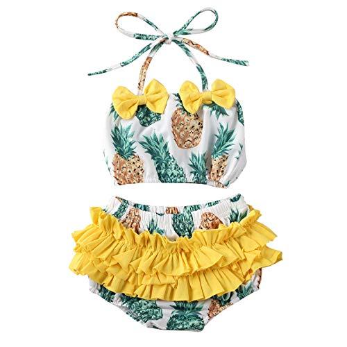 MAHUAOYIXI Bambine Due Pezzi Costume da Bagno a Volant con Motivo di Anguria o Ananas Abito da Nuoto Balletto Ragazza Mare (Giallo, 4-5anni)