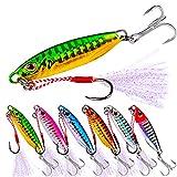 iBuuuy 6pcs Pesca Lures10g, Metal Velocidad Lenta Pesca Señuelos Plantilla con 4# BKB Agudos Hook y Assist Hooks