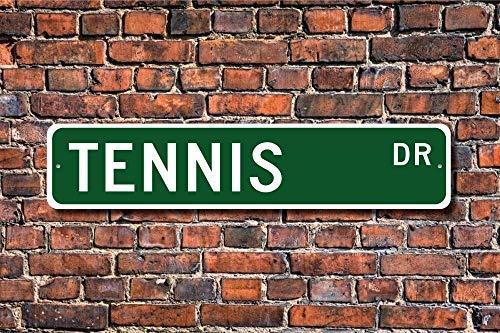 Aqf527907 - Targa in metallo divertente per tennis, tennis, tennis, tennis, racchetta e palla da tennis, decorazione per garage, casa, cortile, vialetto