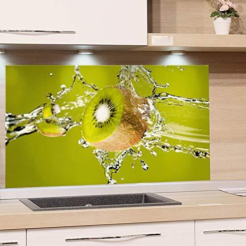 GRAZDesign Spritzschutz Glas, Bild-Motiv Kiwi grün, Glasbild Küchenrückwand Glas Obst - Küchenspiegel / 60x60cm