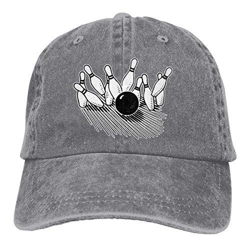 Unisex Baseball Cap Baumwolle Denim Hut Bowling Ball auffällige Bowling Pin verstellbare Snapback Solid Hat wunderschöne 3237