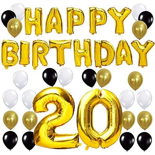 KUNGYO Letras Tipo Balón Doradas Happy Birthday+Número 20 Mylar Foil Globo+24 Piezas Negro Oro Blanco Globo de Látex 20 Años de Antigüedad Fiesta de Cumpleaños Decoraciones