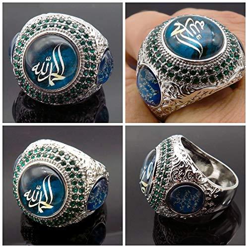 KEJI Herren-Ring, muslimisch, arabisch, gottische Botschaft, luxuriös, groß, rund, grüner blauer Stein