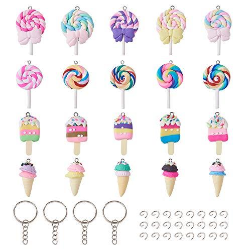 Beadthoven - 40 colgantes de comida de arcilla polimérica de colores para helado, helado, dulces, limo, encantos con cierres de llave y anillos de salto para hacer joyas