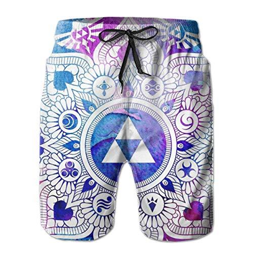 Lustige Herren Legend of A Zelda Mandala Badehose Schnell trocknend Sommer Surf Beach Board Shorts mit Mesh Futter/Seitentaschen L