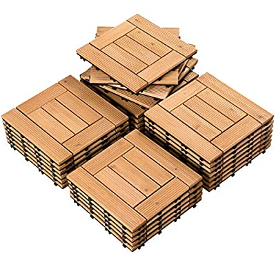 Yaheetech 27PCS Wood Flooring Decking Deck Tiles Interlocking Patio Pavers Tiles Solid Wood and Plastic Indoor Outdoor 12 x 12in Natural Wood