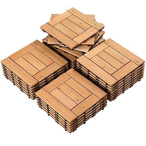 Yaheetech 27PCS Natural Wood Deck Tiles Interlocking Patio Deck Tiles Solid Wood and Plastic Indoor&Outdoor 12 x 12in