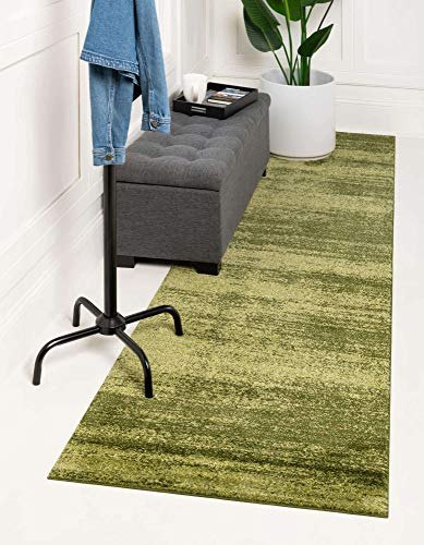 Unique Loom Del Mar Collection Contemporary Transitional Green Runner Rug (2' 7 x 10' 0)