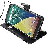ebestStar - kompatibel mit Wiko View XL Hülle Kunstleder Wallet Case Handyhülle [PU Leder], Kartenfächern Standfunktion, Schwarz + Panzerglas Schutzfolie [Phone: 158.1 x 76.5 x 8.2mm, 5.99'']