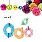 LZL 2 / 3Set Pom-Pom Maker Mini Pompom Knitting Needle Herramienta de Bricolaje para Fluff Ball Craft Tool Set Juego de decoración Kit (1Set 4Pcs Colores aleatorios) (3juegos)