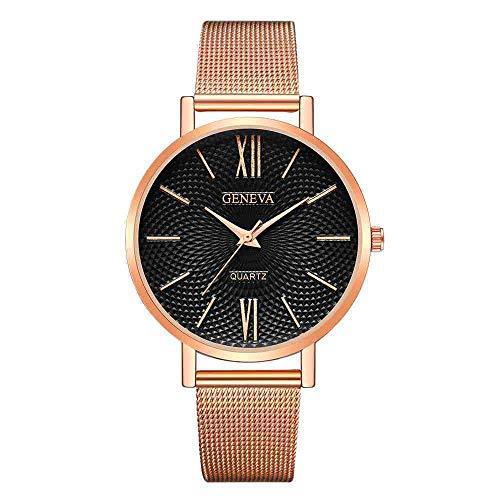 OLUYNG Reloj de Pulsera Reloj Geneva para Mujer Relojes de Oro Rosa Reloj Reloj de Pulsera Simple Acero Inoxidable Mesh & FF