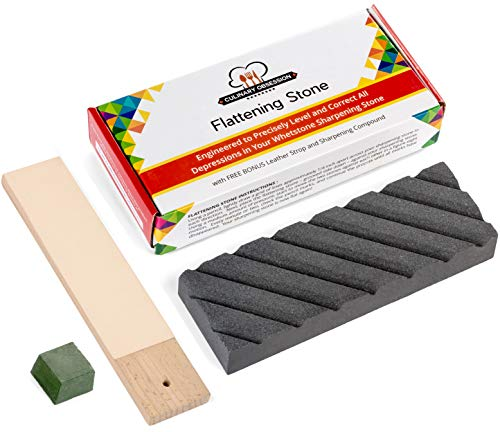 Flattening Stone - The Best Way to Re-Level Sharpening Stones or Waterstones - also known as a Whetstone Fixer, Lapping Plate, Nagura Stone, or Grinding Stone - with BONUS Leather Strop and Compound
