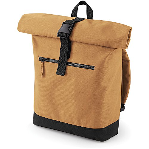 Bagbase Unisex Roll Top Backpack / Rucksack Brown