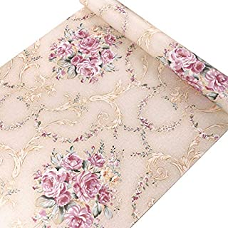 VI COLLECTIONS Rose Flower amask in Golden Background Wallpaper 200 cms by 45 cms