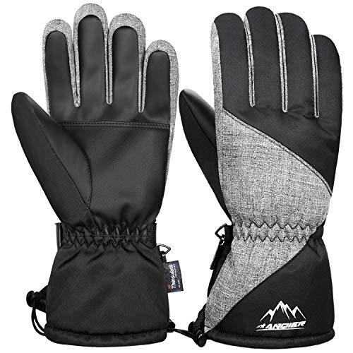 coskefy Handschuhe Herren Damen Winddicht Warm Fahrradhandschuhe Männer Winter Wasserdicht Schwarz Weiß Pink Blau Grau Sport Handschuhe für Motorrad Snowboard Skifahren Radfahren Laufen Wandern