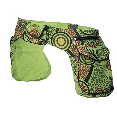 KUNST UND MAGIE Doppel Bauchtasche Sidebag Gürteltasche Festivaltasche Hippie Goa, Farbe:Hellgrün