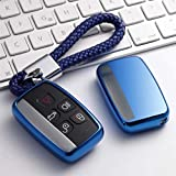 Clé de Protection Voiture Porte-clés for Land Rover Range Rover Sport A9 Evoque Freelander 2, Jaguar XE Guitare Souple TPU Key Case Cover 20200617 (Color : A-Blue Keychain)