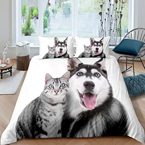 Husky Civet Cat Print Duvet Cover Set 3D Animal Printed Comforter Cover for Kids Boys Girls Teens Cute Pet Dog Cat Pattern Bedding Set Lovely Bedroom Decor 2Pcs Bedspread Single Size