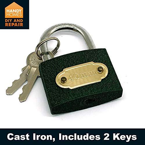 2pk Padlock 40mm | Shackle Security Keys|Heavy Duty Brass Steel Lock | Master Lock with Keys | Padlocks for Lockers for Indoor and Outdoor Use