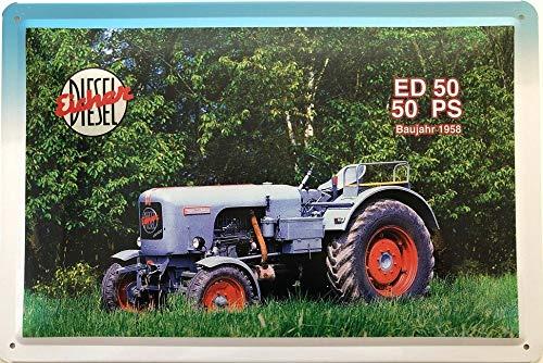 Deko7 Blechschild 30 x 20 cm Eicher Diesel ED 50 50 PS Baujahr 1958