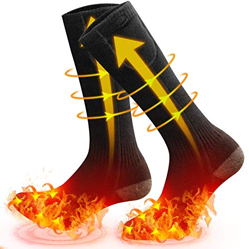 Heated Sock, MOVTOTOP All-Round Heated Socks Feet and Toes-Heated Socks for Men/Women Rechargeable Washable Electric Socks 3 Heat Settings Battery Heated Socks Up to 140℉ for Outdoor&Indoor Activities