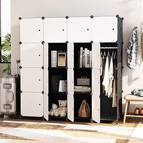 HOMEYFINE Portable Wardrobe for Bedroom, Storage Organizer Cube Closet, Modular Plastic Cabinet Armoire with Hanging Rail, White Black(16 cube)