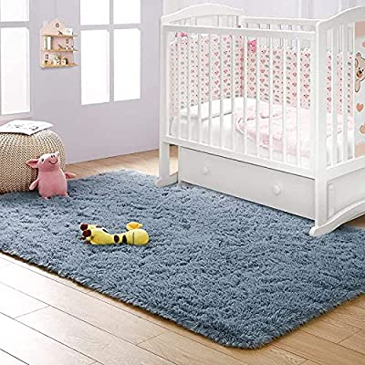 CHUANGYI Grey-Blue Super Soft Non-Slip Rug Fluffy Carpets Shag Rugs for Living Room Plush Furry Area Rugs for Bedroom Kids Rooms Baby Room Nursery Home Decor